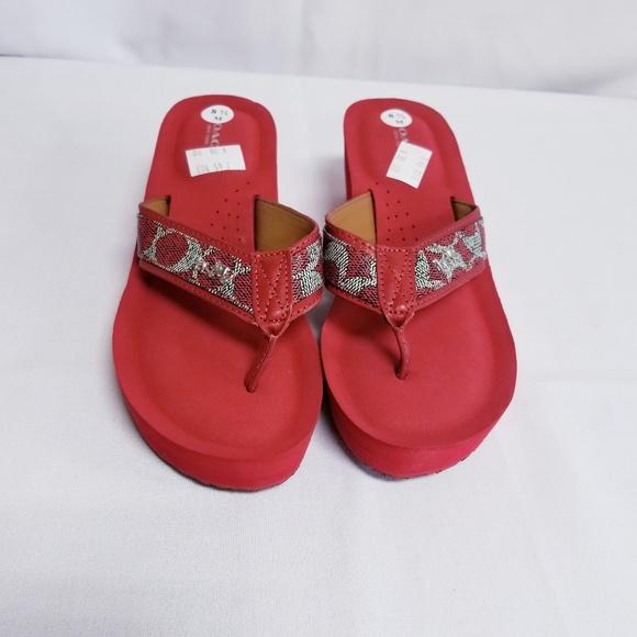 b4e1e38eda2165 Coach Red Foam Wedge Flip Flop Sandals Size 8.5